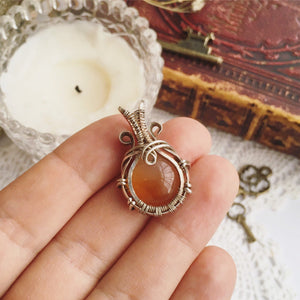 Wire Wrapped Carnelian Necklace - Andune Jewellery