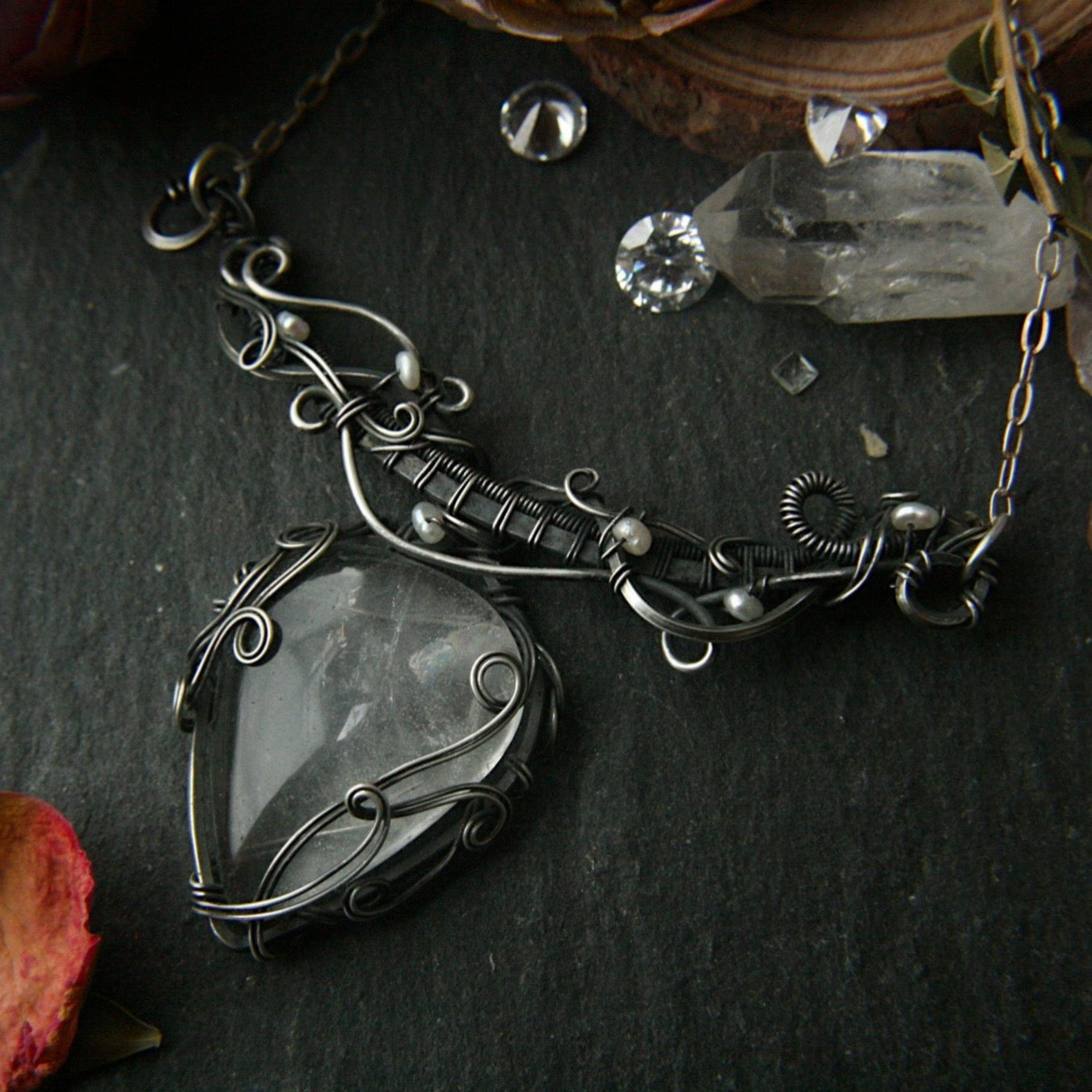 Wire Wrapped Clear Quartz Crystal Necklace - Andune Jewellery