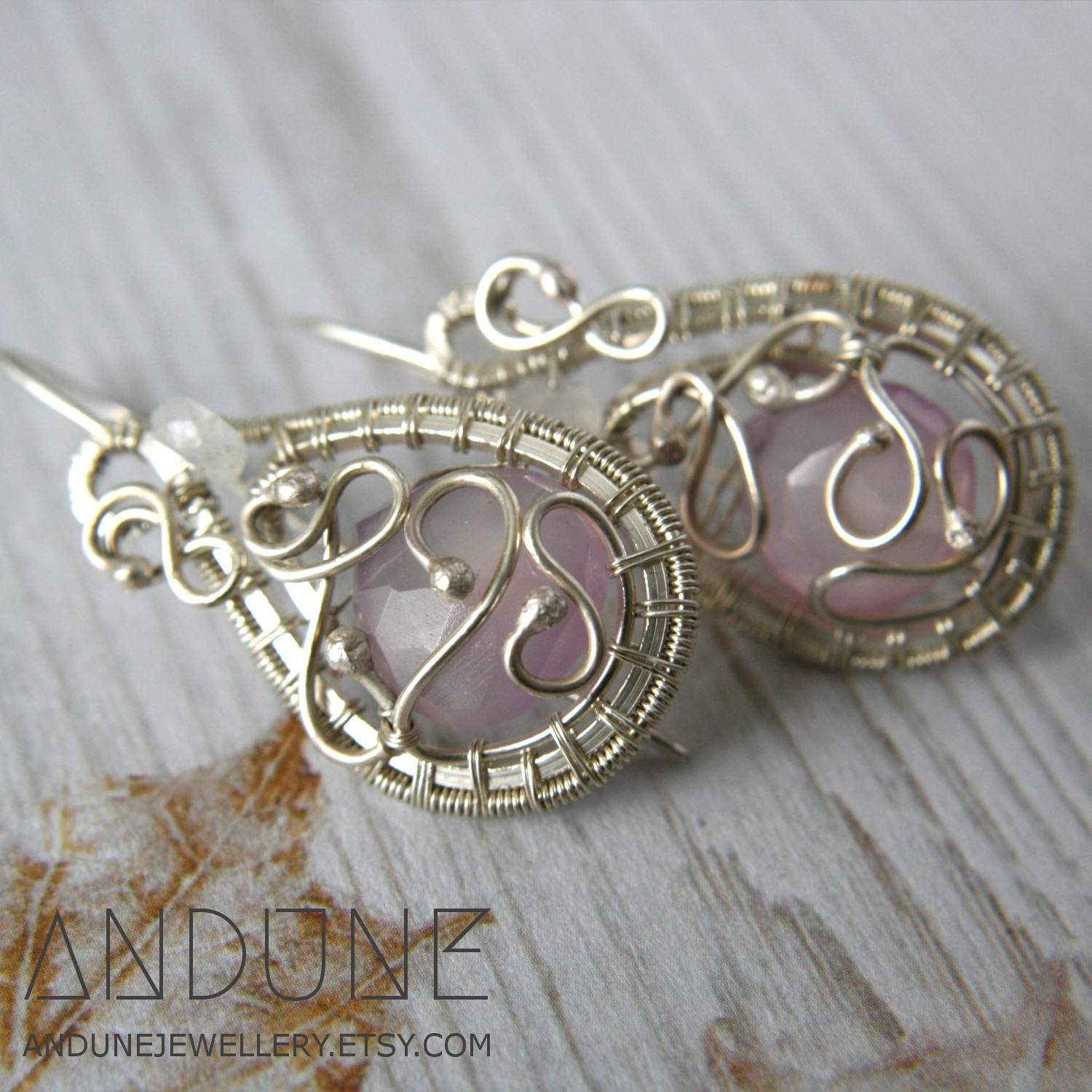 Wire Wrapped Earrings with Chalcedony and Moonstone - Andune Jewellery