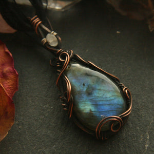 Wire Wrapped Labradorite Pendant with Moonstone - Andune Jewellery