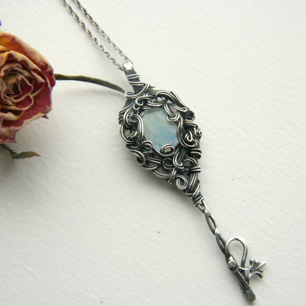 Wire Wrapped Moonstone Key Necklace with Swirls - Andune Jewellery