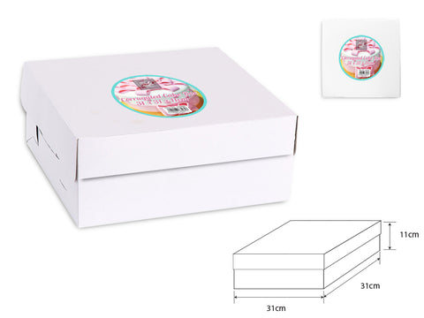 Corrugated Cake Box White 31x31x11cm