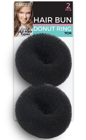 Hair Bun Donut Ring Black 7cm 2pk