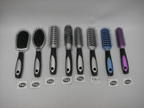 HAIR BRUSH METALLIC FIN. 6ASST