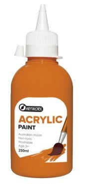 ARTWORX ACRYLIC PAINT ORANGE 250ML