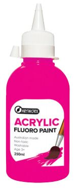 ARTWORX FLUORO ACRYLIC PAINT PINK 250ML