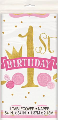 1st Birthday Tablecover Pink & Gold