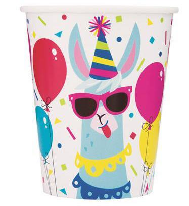 Llama Birthday 8 x 270mL (9oz) Paper Cups