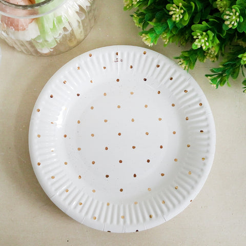 Metallic Gold Dotty Paper Plate 12pk 180mm