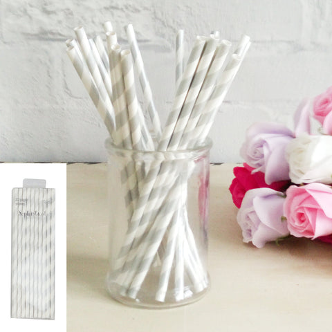Silver Paper Straw 20pk