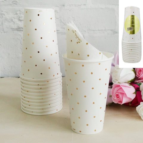 Metallic Gold Dotty Paper Cup 12pk 500ml