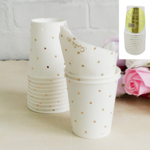 Metallic Gold Dotty Paper Cup 12pk 200ml