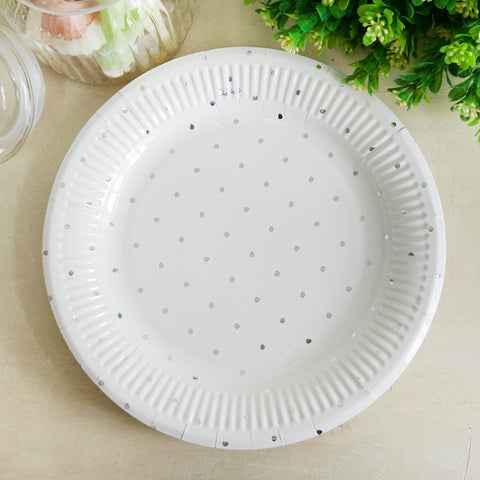 Metallic Silvery Dotty Paper Plate 12pk 230mm