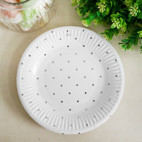 Metallic Silver Dotty Paper Plate 12pk 180mm