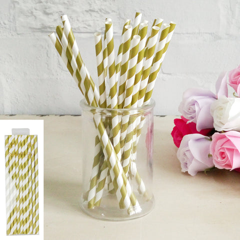 Gold Paper Straw 20pk