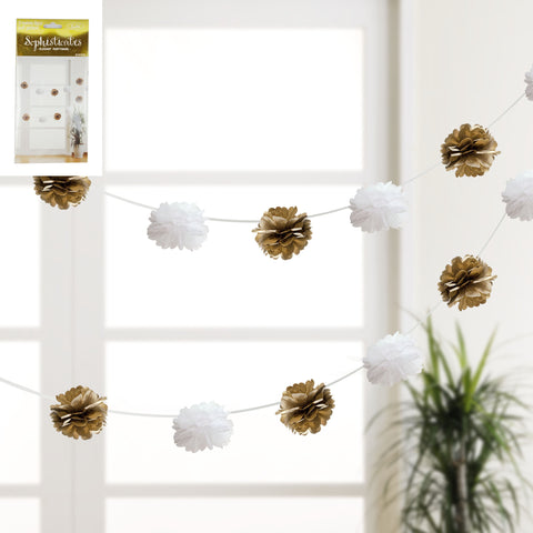 Metallic Gold/White 8pcs Puff Garland 3m