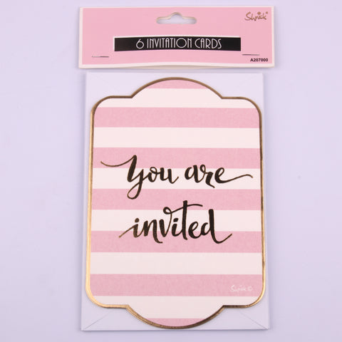 Pink invitation cards 6pk
