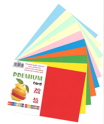 PREMIUM CRAFT CARD A5 BRIGHTS AND PASTELS