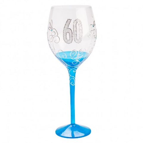 60th Wine Glass