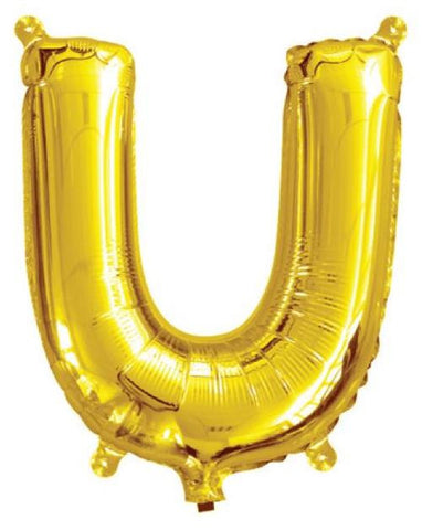 Foil Balloon Alphabet Gold U