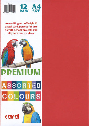 PREMIUM ART & CRAFT CARD A4 ASSORTED COLOURS