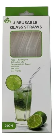GLASS STRAW-CURVED 4pc