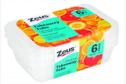 Takeaway Tubs 500ml 6pk