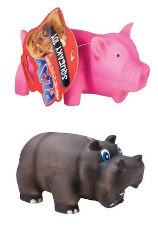 Latex Squeaky Pig/Hippo 16cm 2 Assorted
