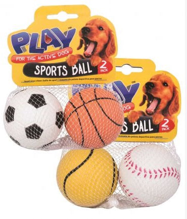 Dog Toy Sports Ball 2 Pack 2 Assorted