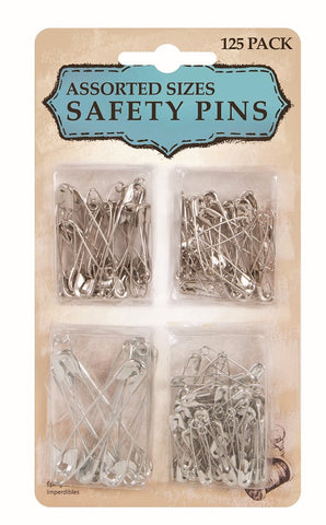 Safety Pins Assorted Sizes 125PK