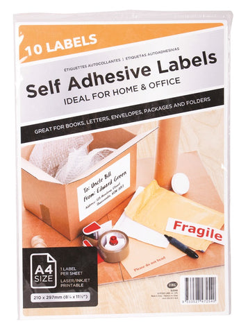 Self Adhesive Labels A4 10 Pack
