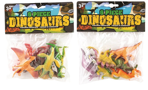 Dinosaur Figures 6 Pieces 2 Assorted