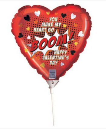Valentine's Balloon W/Stick Comic