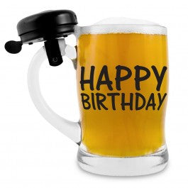 BEER GLASS W/BELL BIRTHDAY