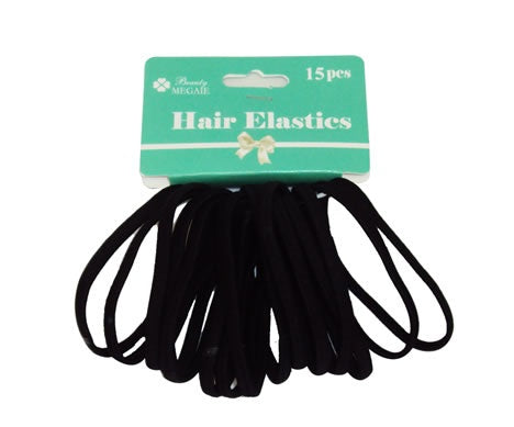 Hair Elastics Black 15pcs