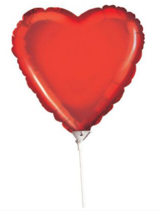 Red Heart Balloon on Stick