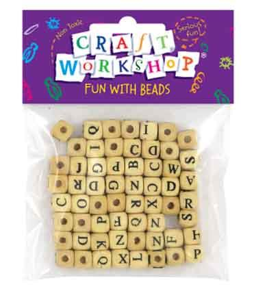 Craft Beads Alphabet 8mm Natural