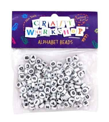Craft Beads Alphabet White