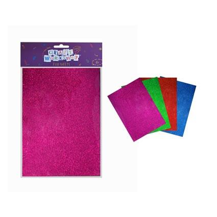 Craft Glitter Foam 4col 20*30cm 4pc