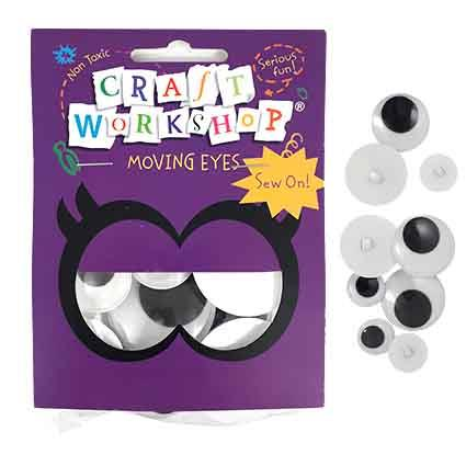 Craft Moving Eye Sew-On 18pc 3asst
