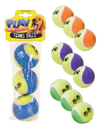 Tennis Ball Paw Print 3 Pack 4 Assorted