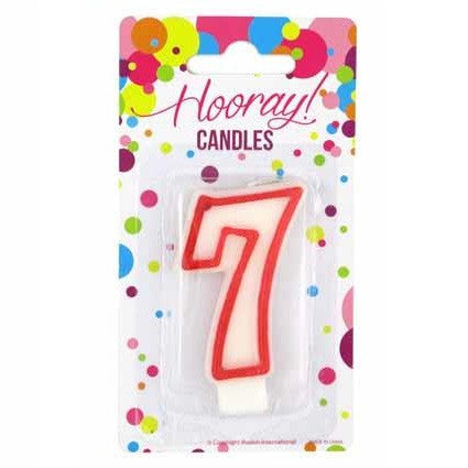 Candle Red White Number 7