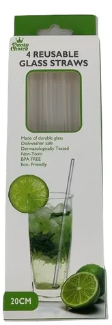 Glass Straws Straight 4pk