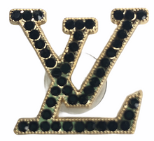 "Load image into Gallery viewer, ""LV Black"" Jewel Croc Charm"