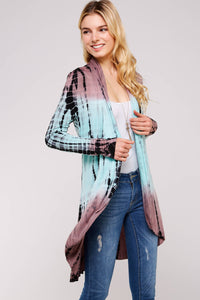 Mocha and Mint Two tone Bamboo Tie dye Hi-low Cardigan