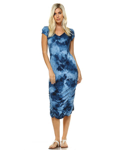 Crystal Blue Cloud Tie-dye Short sleeve V-Neck Midi Dress