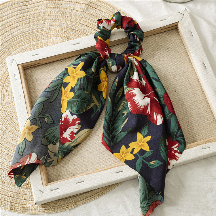 Scarf Hair Tie - Hawaiian Flower