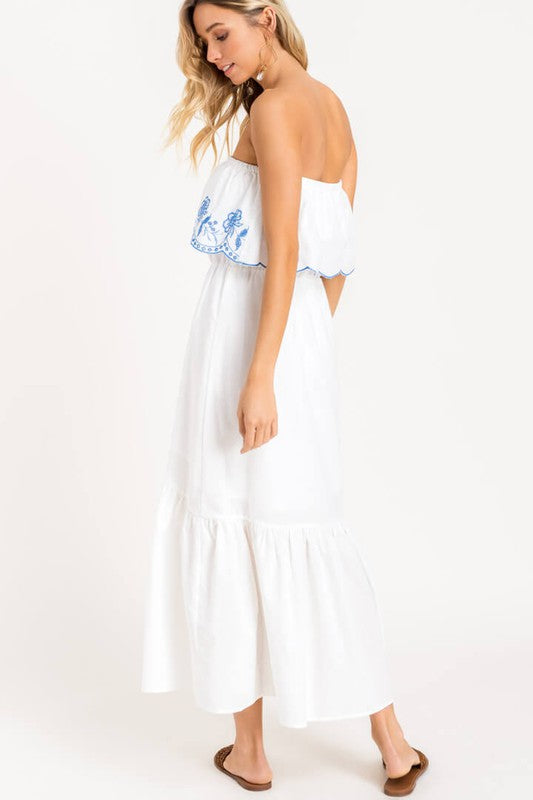 Eyelet Buttoned Tiered Maxi Dress