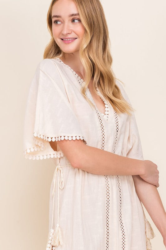 Crochet Kaftan Mini Dress