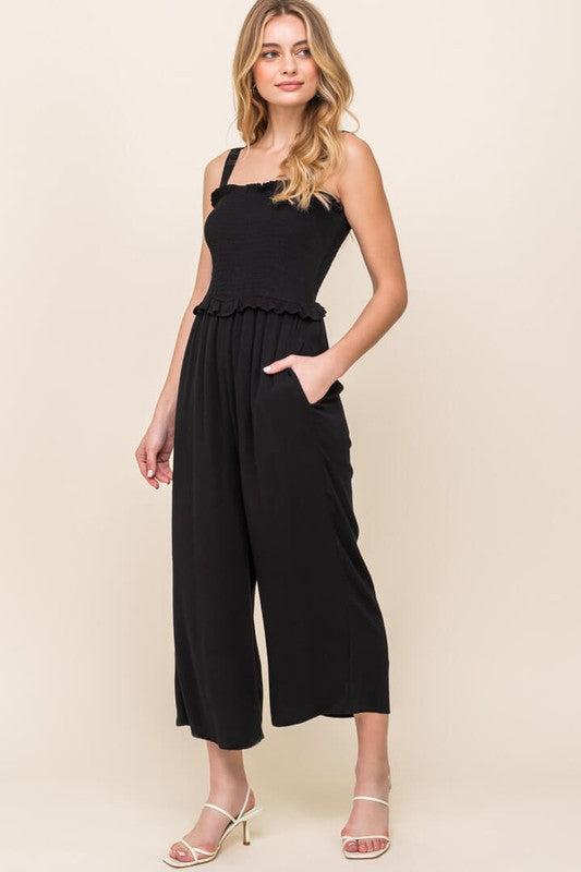 Smocked Cropped Jumpsuit